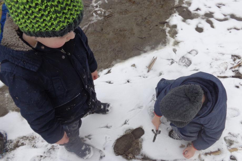Kinder des Zwergengarten PiCollini auf Spurensuche im Schnee